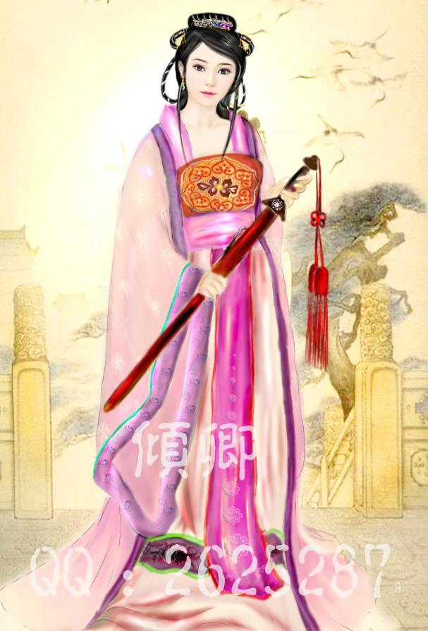 手绘古装红衣持剑美女